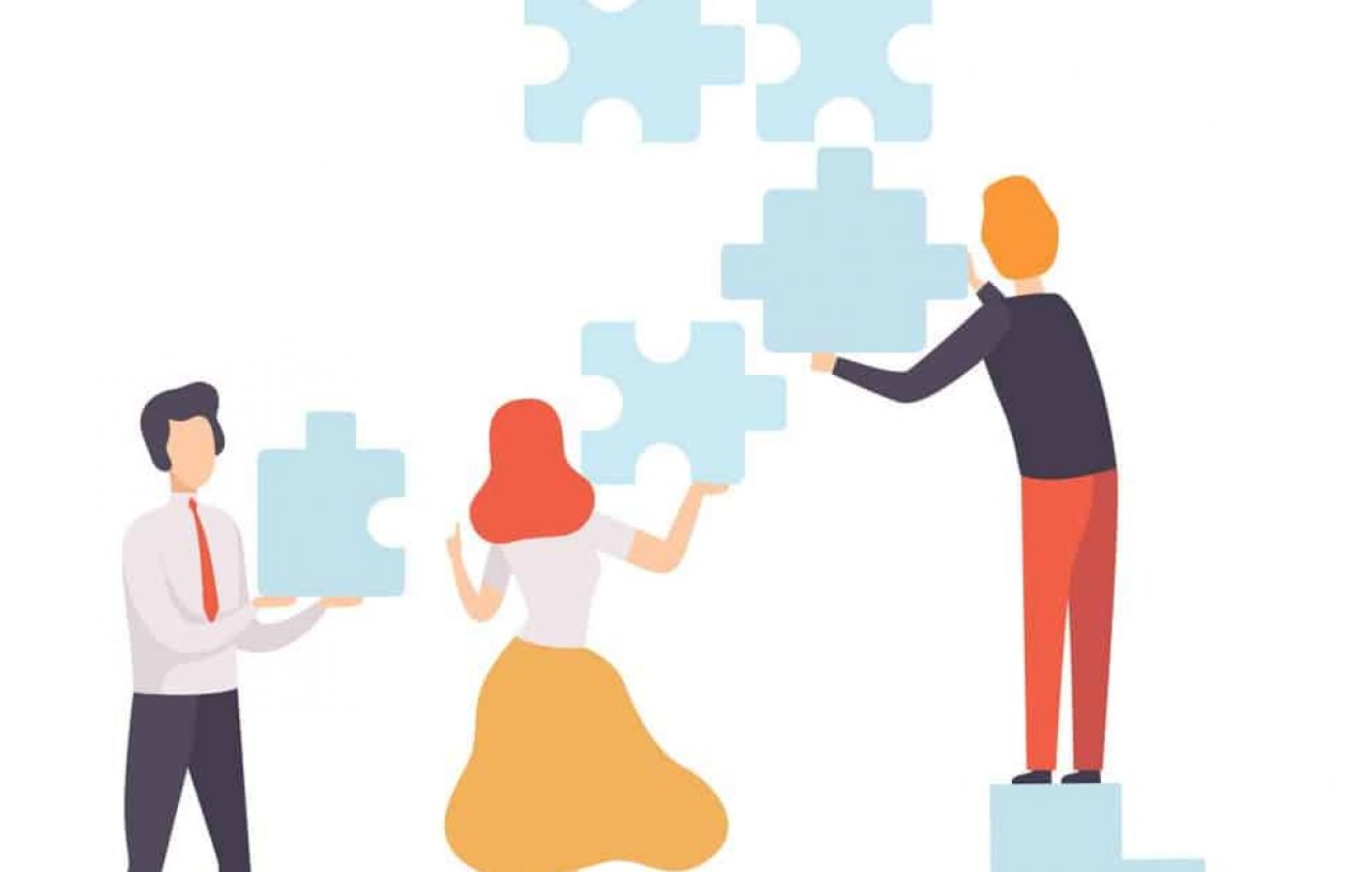 Business Team, Office Colleagues Connecting Puzzle Elements, People Working Together in Company, Teamwork, Cooperation, Partnership Vector Illustration on White Background.