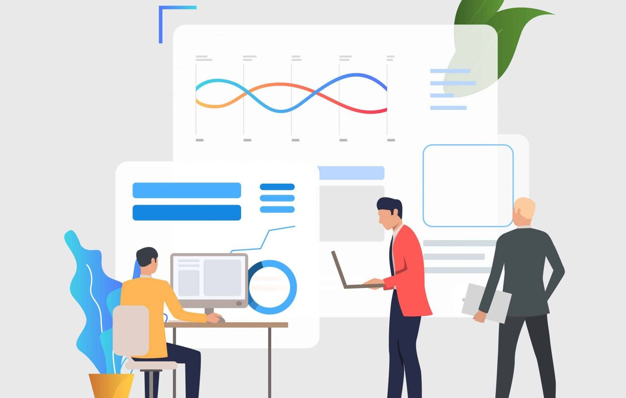 Business men working on computers and analyzing financial charts. Analysis, management, technology concept. Vector illustration can be used for topics like business, analytics, finance